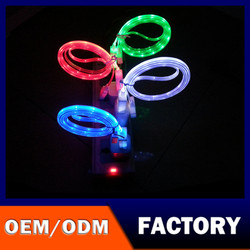 FACTORY+OEM+ODM+LOGO Fashionable flowing Light data cable/cheap price LED Flow Light Micro USB Charger Data Sync Cable