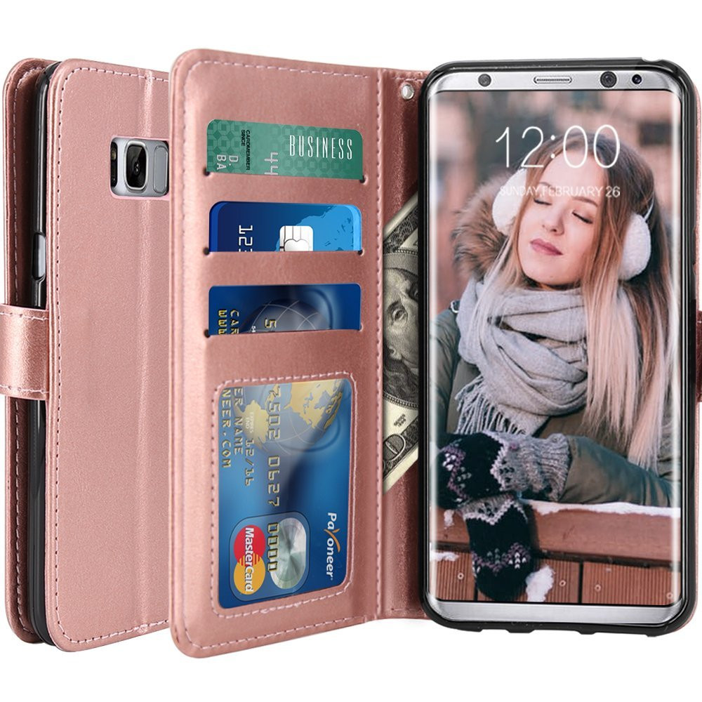 Rose Gold PU Leather Wallet Flip Card Slots Kickstand Protective Case for Samsung Galaxy S8 Plus