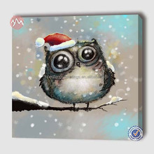Hand painted modern cute owl with Christmas hat on tree animal canvas oil painting