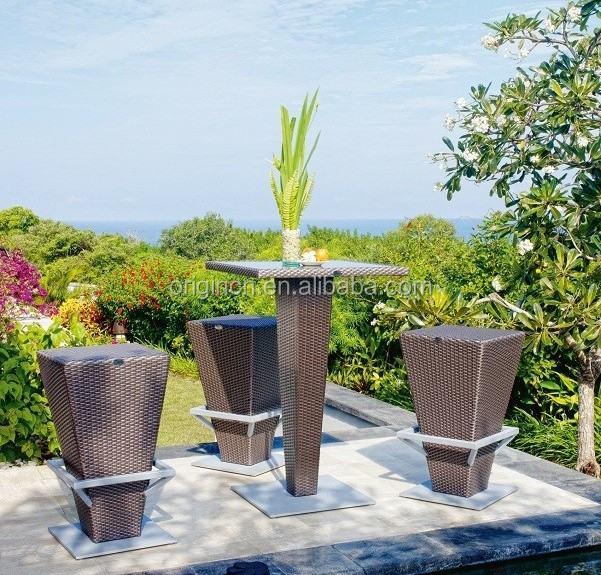 2016 high quality modern armless bar stool designed outdoor patio ratan wicker pro garden furniture