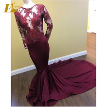 Mermaid Patterns Long Sleeve Appliques Elegant Party Wear Turkish Evening Dresses