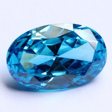 lab created cz stone with oval shape glamour aqua blue cubic zircon