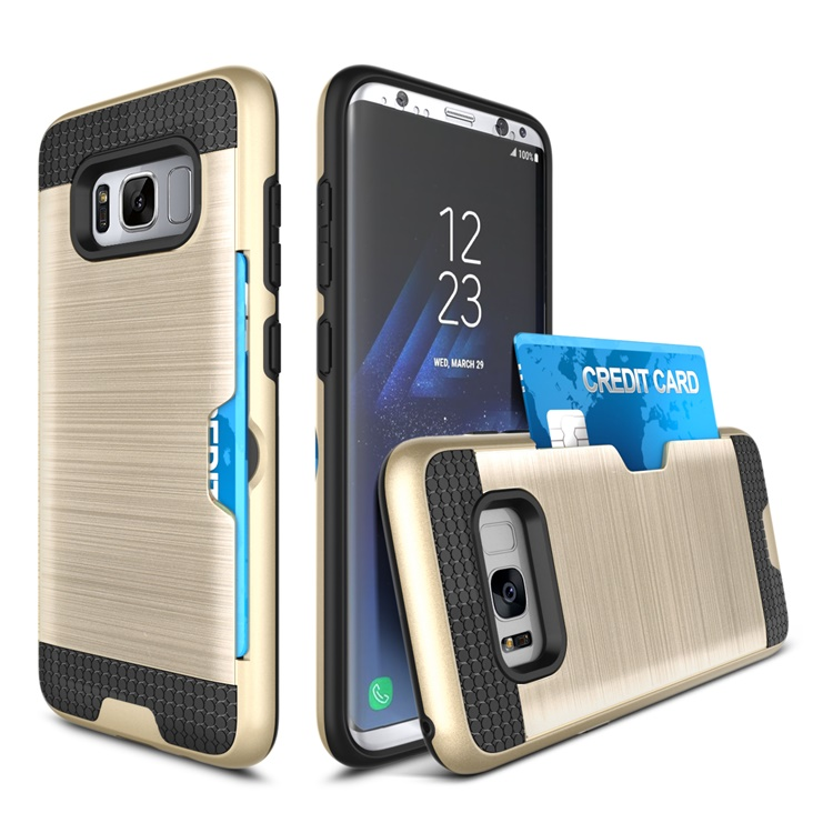 Hard Back Hybrid Cover phone case for samsung s8 with card slot