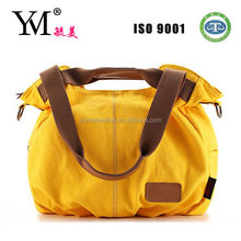 2014 newest high quality big yellow canvas handbag made in china