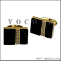Black Stones Square Diamonds Gold Stainless Steel Cufflink
