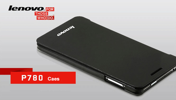 Lephone Original PU Leather Smart Case for Lenovo P780 Black In Stock With Wake Up Function