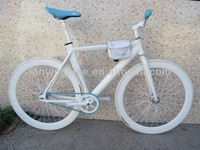 white 700C Aluminum fixed gear bike with small tool bag and colorful small parts