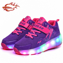 Breathable mesh 1 wheel roller skate rechargeable led shoes for children
