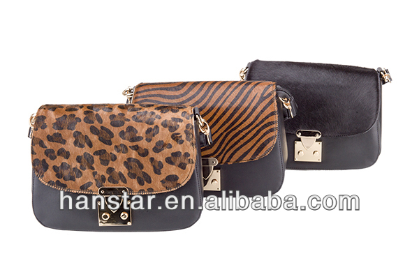 Classic Leopard Pattern Vintage Shoulder Bag Horse Hair