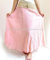 Pink Long Cotton Skirt With Crochet Waist Thailand