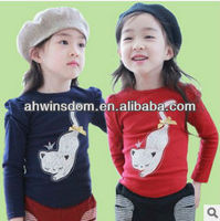 korean cat print children t-shirts