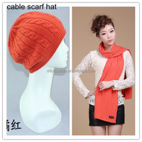 2016 Winter wholesale women's merino wool cable knit hat and scarf sets