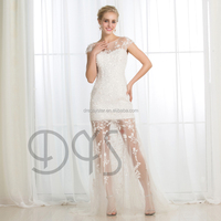 Fabulous sexy heavy beading lace appliques short wedding wedding dress bridal with transparent tulle skirt