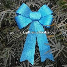 9 inches Indoor Outdoor Blue Plastic Glitter Ribbon Christmas Gift Bow