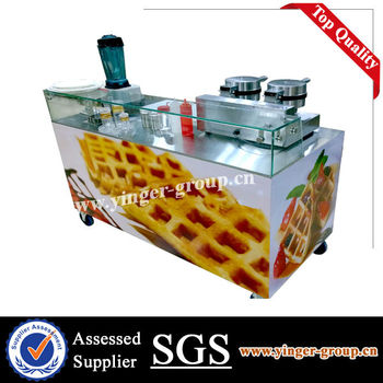 2014 New Style Mobile Commercial Waffle Food Maker Sales Grocery Cart