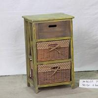 wood storage cabinet with 3pcs wheat straw drawers