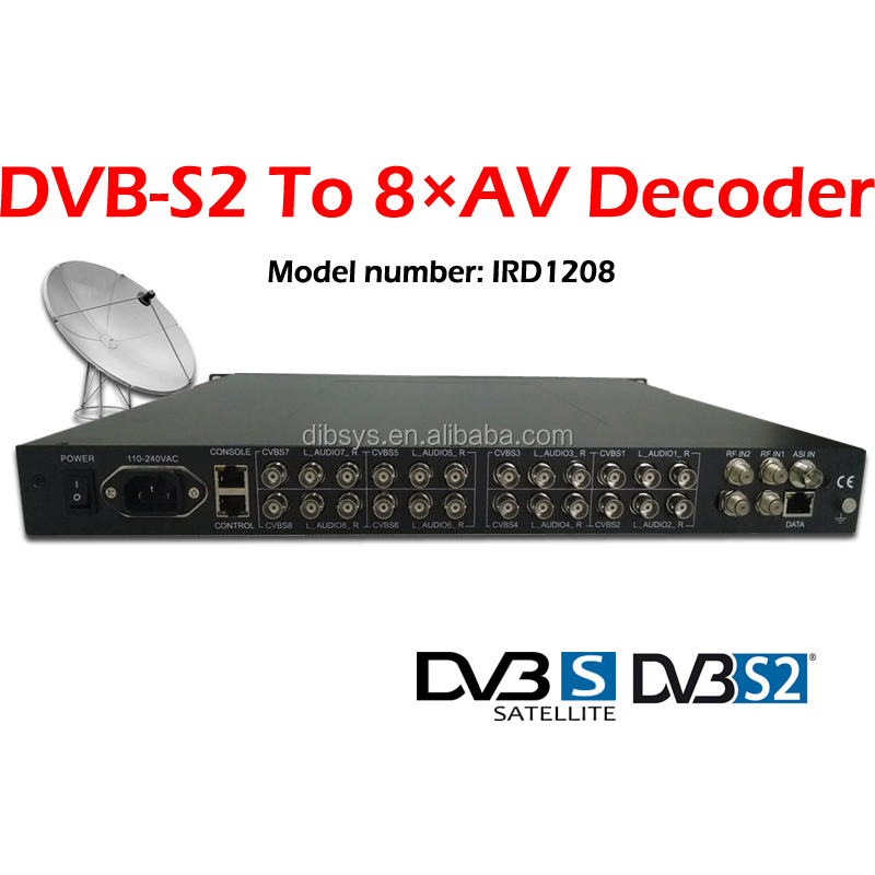 Professional QPSK/8PSK Satellite DVB-S2 to AV decoder,demodulator and Video converter