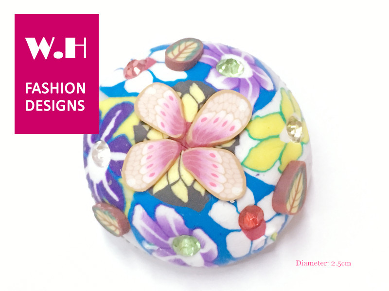 2.5cm Wholesale printed flower crystal polymer clay brass snap button