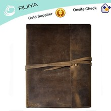 Vintage & Rustic Cowhide Leather Portfolio with A Tie Closure