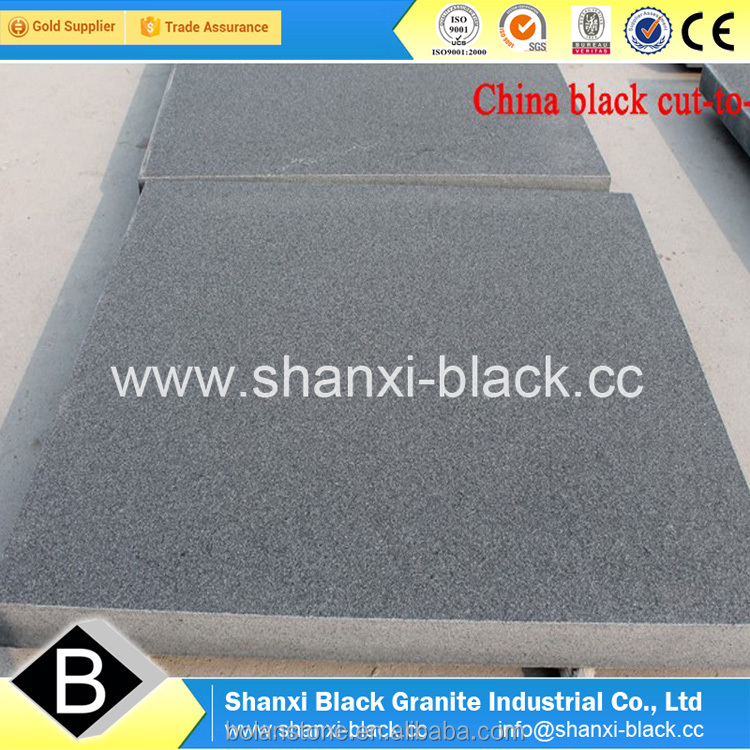 black granite flamed waterjetted bushhammered finish shanxi black china black nero assoluto G777 granite pure black granite tile