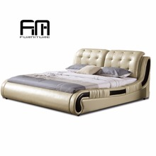 Arabic modern luxury full leather hotel furniture bedroom bed set furniture