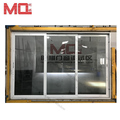 Aluminum white frame double glazed 3 panel sliding patio door