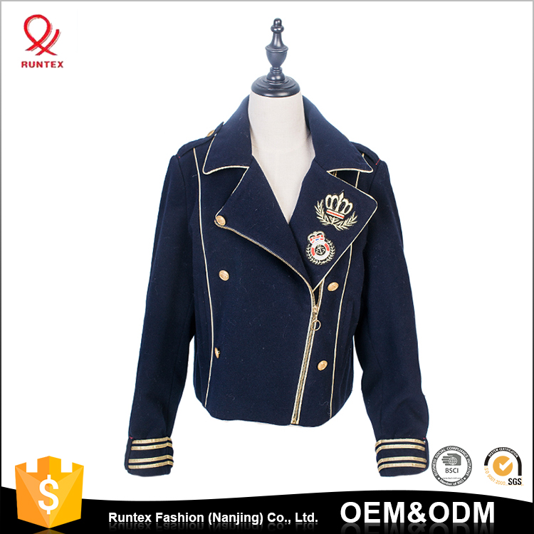 New Design 2018 Womens custom logo Double Breasted short varsity college jacket