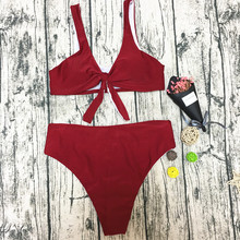 2018 Wholesale Hot Sexy Bikini Young Girl Swimwear China Red Pure Color Two Piece Bathing Suit