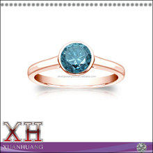 Beautiful Simple Design Round Blue Diamond Solitaire Bezel Ring