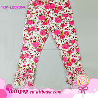 2016 Hot sale new born infant printed floral triple ruffle icing capri pant fancy girls ruffle icing capri pants