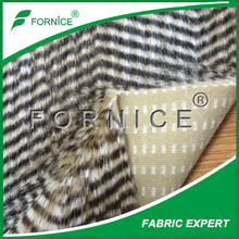 Long pile jacquard printed artificial peacock plush fur wholesale