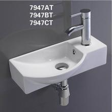 PATE left right Sink supplier small size rectangular ceramic wall hung corner wash basin