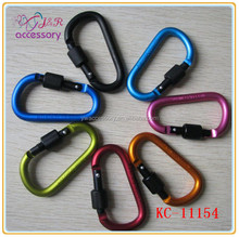 Aluminum D shape carabiner with screw lock