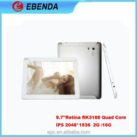 Latest 9.7 inch Android 3G network tablet RK3188 quad core android retina 2048*1536 display
