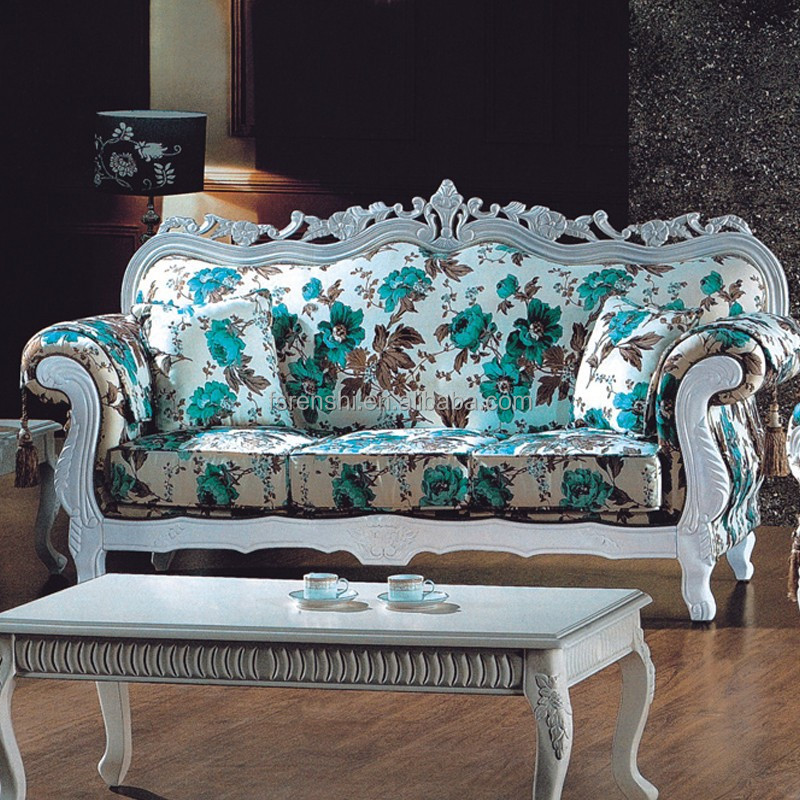White Painted Wooden Frame Modern Classic Floral Blue and Grey Sofa Very Cheap Furniture