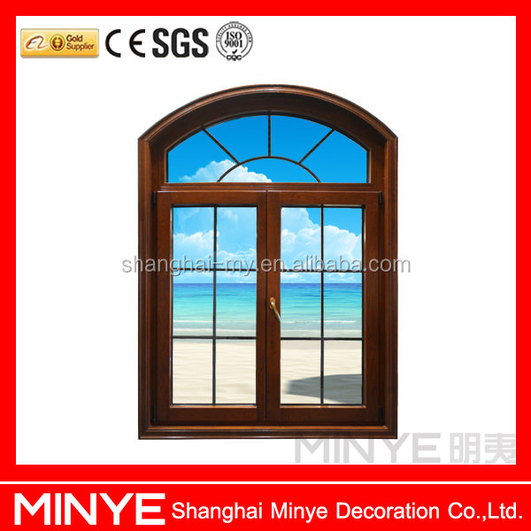 aluminum frame with wood inside arch window casement window with fixed window grill design open inside