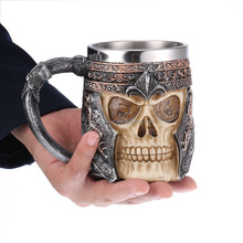 Cool Stainless Steel Skull Coffee Mug Cup for 3D Design Mug Tankard 301-400 ml