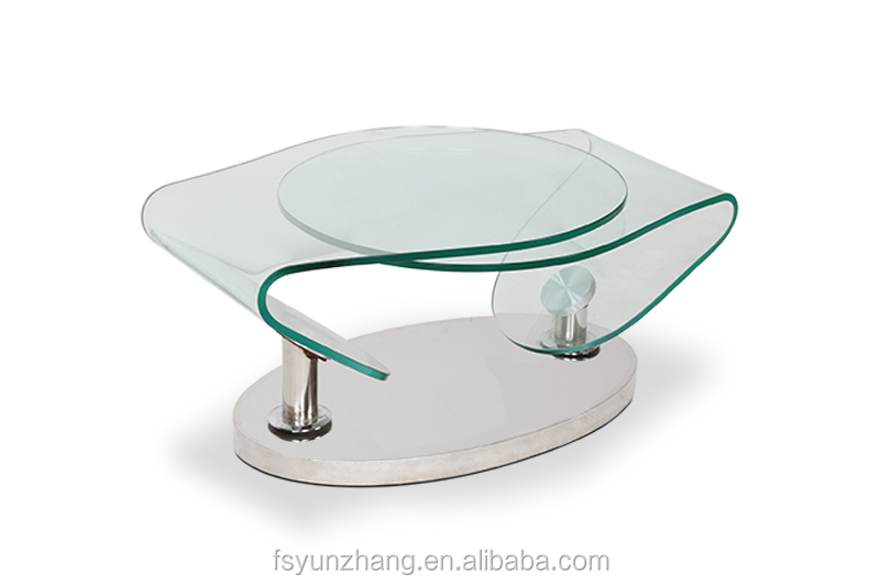 Transparent Glass Rotating Stainless Steel Coffee Table Buy Transparent Glass Coffee Table
