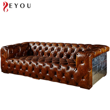 Retro genuine leather brown cigar vintage living room sofa set classic Chesterfield sofa set