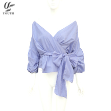 Latest Fancy Sexy Off-Shoulder Bowknot White Blue Stripe Womens Crop Tops