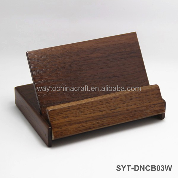 Quality desk wooden folding business card holder