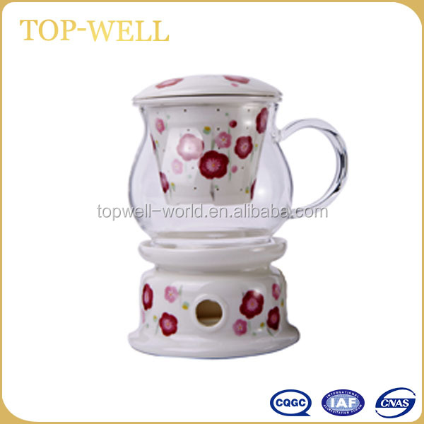 Heat resistant glass tea cup set