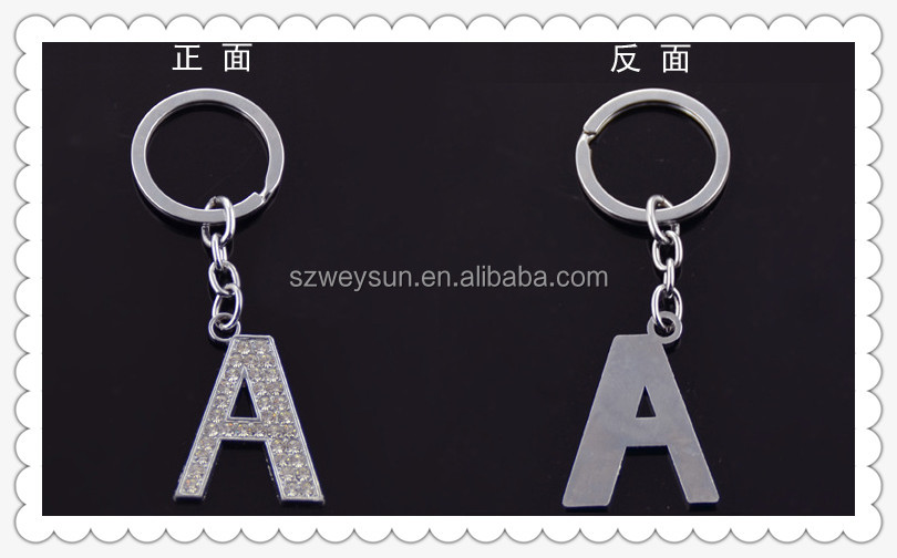 Metal Initial Letters Keychain Simple Alloy Letter Name Key Ring for Women and Men Gifts