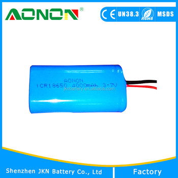 OEM 2 parallel 18650 lithium battery pack 3.7v 4000mah with CE, ROHS, MSDS, UN38.3