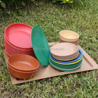 biodegradable bamboo fiber dinner plate, bamboo fiber serving tray, natural plant fiber plates