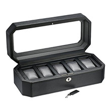 Black carbon fiber leather 5 slot watch box for man & five watch packing boxes