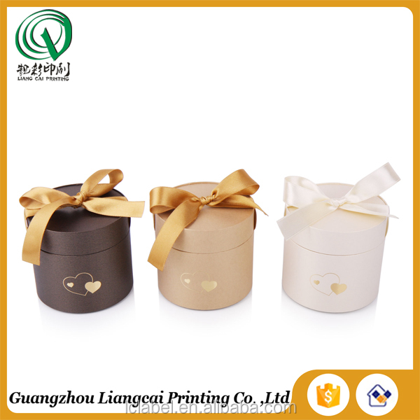 gift packaging paper box round paper jewelry box with bowknot