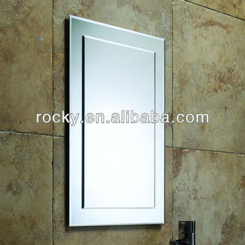 Bathroom frameless bevelling rectangular mirror iso9001 for Frameless rectangular bathroom mirror