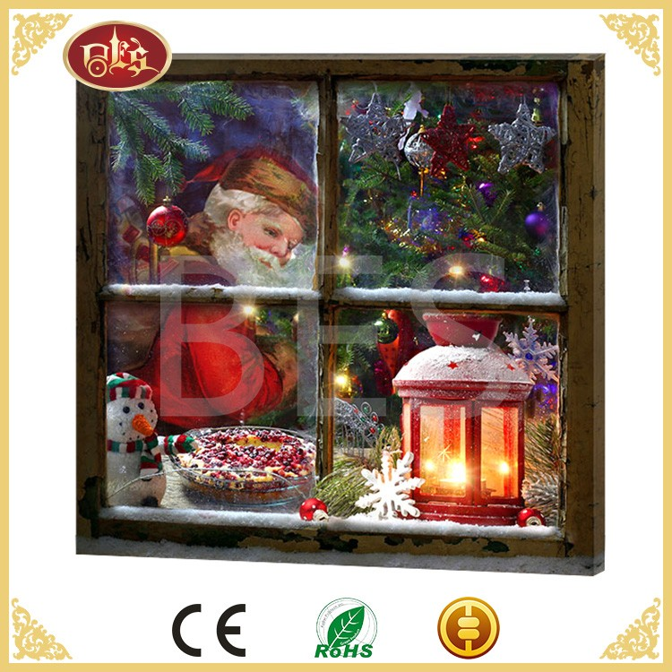 Lighted christmas canvas wall decoration , xmas ornament , candle light pictures framed pictures with lights