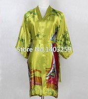 New Green Chinese Women Silk Short Robe Sleepwear Sexy Intimate Lingerie Kimono Gown Pijama Plus Size S M L XL XXL XXXL